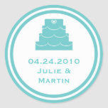 Blue party cake wedding favour tag seal label round stickers