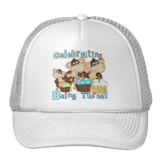 Blue Party Monkeys 3rd Birthday T-shirts and Gifts Cap