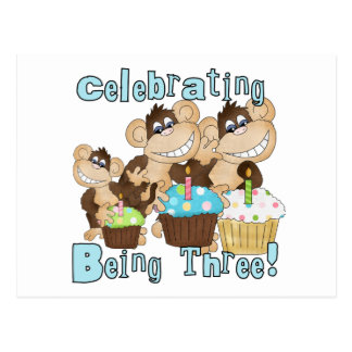 Blue Party Monkeys 3rd Birthday T-shirts and Gifts Postcard