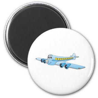 Blue Passenger Jet Cartoon 6 Cm Round Magnet