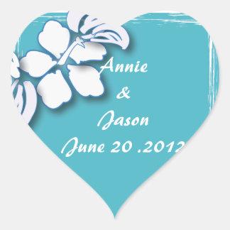 Blue Passion Flower Hawaii Wedding Heart Sticker