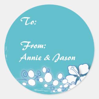 Blue Passion Flower Hawaii Wedding Round Sticker