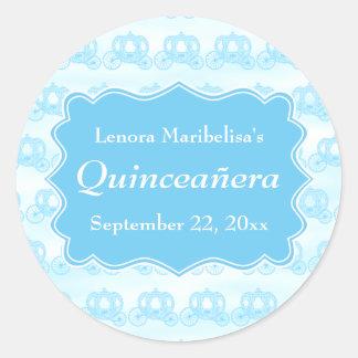 Blue Pastel Carriages Quinceanera Classic Round Sticker