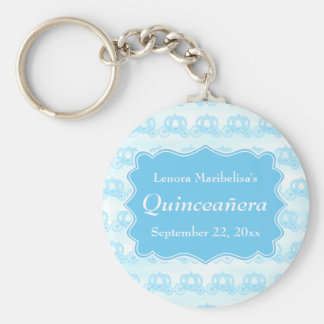 Blue Pastel Carriages Quinceanera Keychains