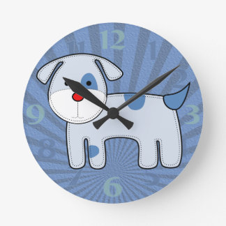 Blue Patch Puppy Medium Clock