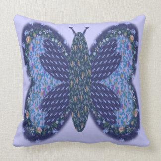 Blue Patchwork Butterfly 20 x 20 Throw Pillow
