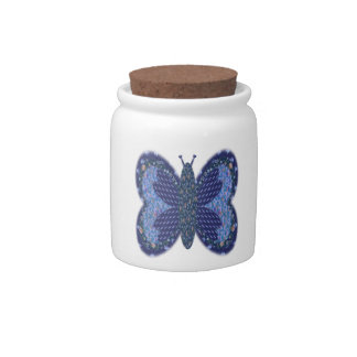 Blue Patchwork Butterfly Candy/Sugar Jar Candy Dish