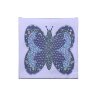 Blue Patchwork Butterfly Cocktail Napkins