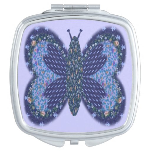 Blue Patchwork Butterfly Compact Mirror