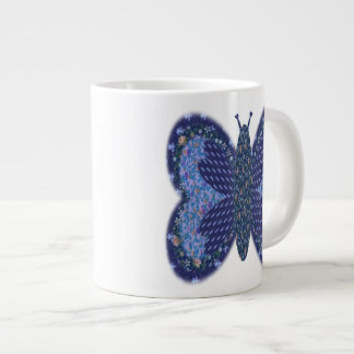 Blue Patchwork Butterfly Jumbo Coffee Mug Extra Large Mugs