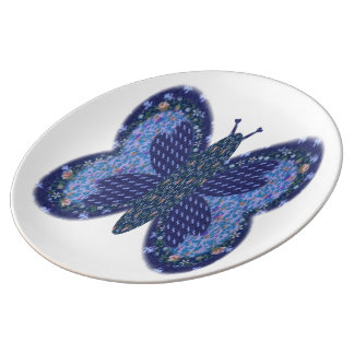 Blue Patchwork Butterfly Large Porcelain Plate