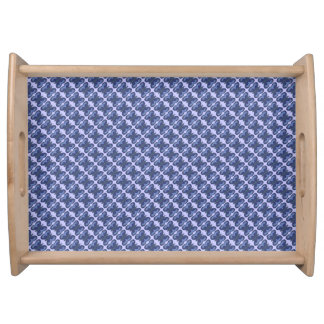 Blue Patchwork Butterfly Large Serving Tray