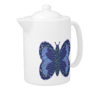 Blue Patchwork Butterfly Medium Teapot