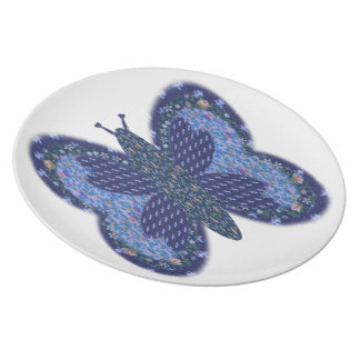 Blue Patchwork Butterfly Melamine Dinner Plate