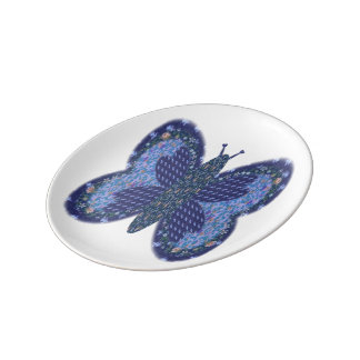 Blue Patchwork Butterfly Small Porcelain Plate