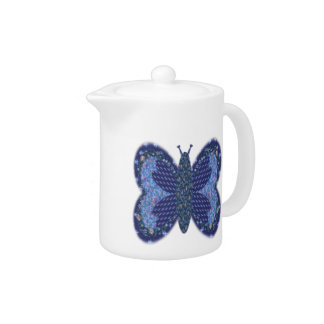 Blue Patchwork Butterfly Small Teapot