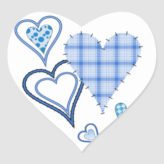 Blue Patchwork Hearts Heart Stickers