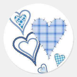 Blue Patchwork Hearts Round Stickers