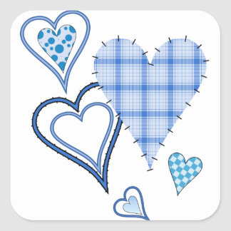 Blue Patchwork Hearts Square Stickers