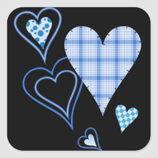Blue Patchwork Hearts Stickers