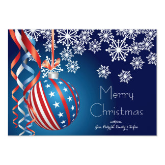 Blue Patriotic Christmas 13 Cm X 18 Cm Invitation Card