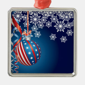 Blue Patriotic Christmas Christmas Ornament