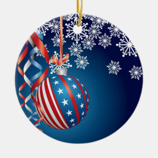 Blue Patriotic Christmas Christmas Ornament