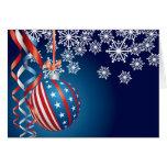 Blue Patriotic Christmas Greeting Card