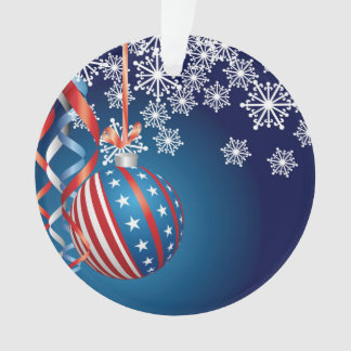 Blue Patriotic Christmas Ornament