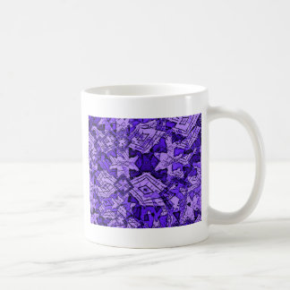 blue pattern basic white mug