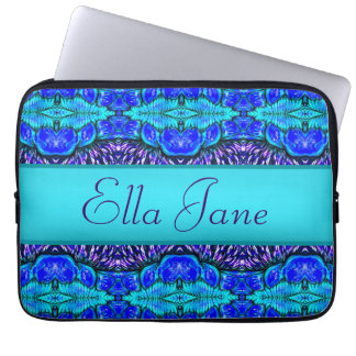 blue pattern laptop computer sleeve with name