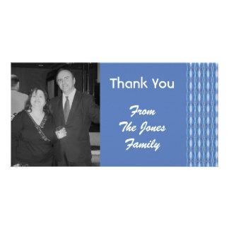 blue pattern custom photo card