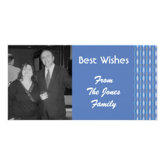 blue pattern personalized photo card