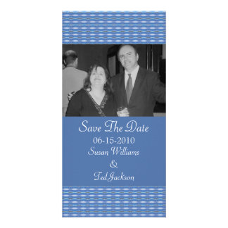 blue pattern Save the Date Photo Greeting Card