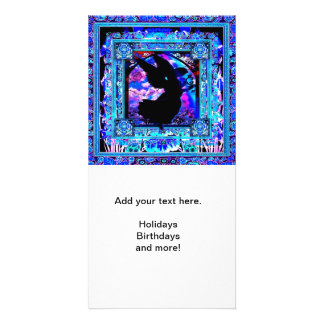 Blue Pattern with Black Angel Silhouette Photo Card