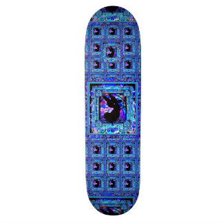 Blue Pattern with Black Angel Silhouette Skateboard