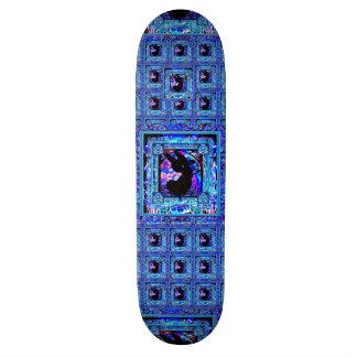 Blue Pattern with Black Angel Silhouette Skateboard