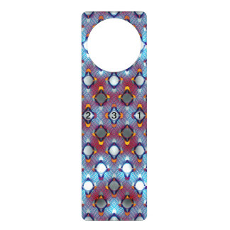 Blue Pattern with Numbers Door Hanger