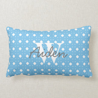 Blue Patterned Baby Boy Personalized Pillow