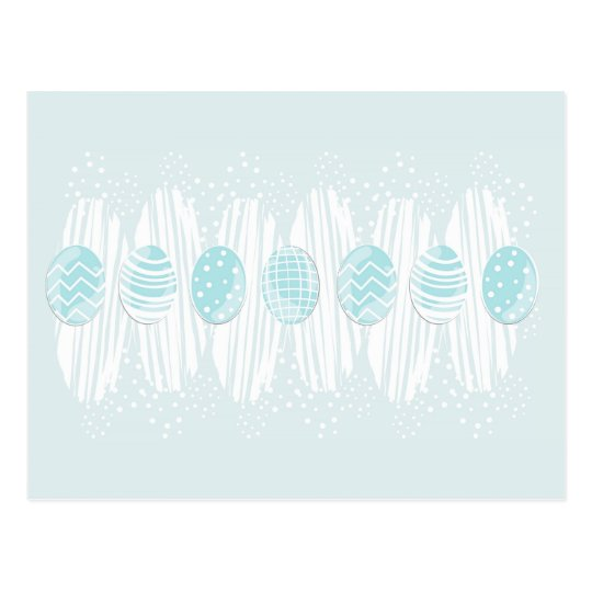 blue patterned Easter eggs on blue Postcard