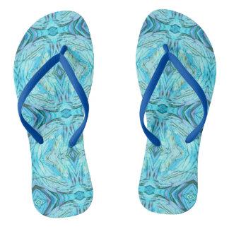 Blue  Patterned Flip Flops Sandals