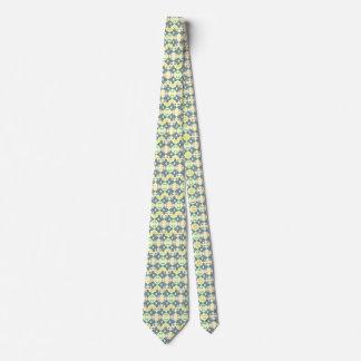Blue patterned geometric tie