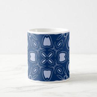 blue patterned coffee mug