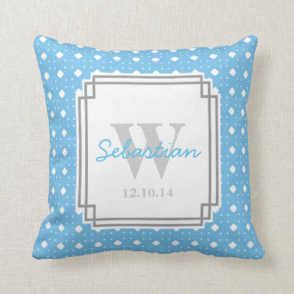 Blue Patterned Personalized Baby Boy Throw Pillow