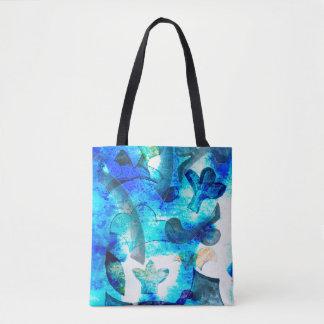 Blue patterned tote bag