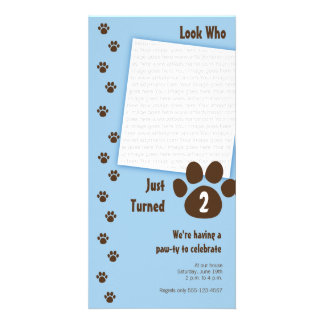 Blue Paw Print Birthday Invitation Customised Photo Card