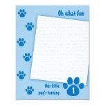 Blue Paw Print Birthday Personalised Invitation