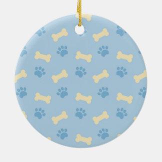 Blue Paw Print Bone Pattern Christmas Ornament