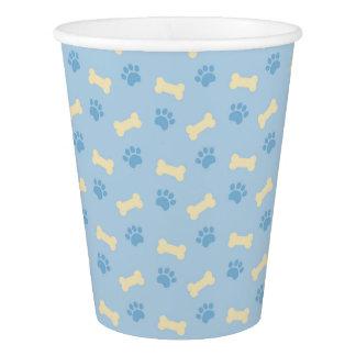 Blue Paw Print Bone Pattern Paper Cup