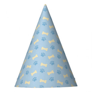 Blue Paw Print Bone Pattern Party Hat
